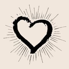 Valentines day. Heart grunge hand drawn.