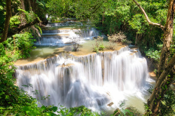 Viewpoint of Huay Mae Khamin waterfall in fourth floor on rainy season at Srinakarin national park
