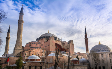 Hagia Sophia church , mosque and now museum in Istanbul Turkey exterior view at sunset view from the park of Sultanahmet mosque