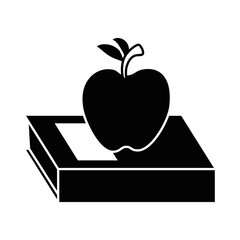 text book with apple vector illustration design