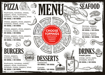 Food menu for restaurant and cafe.