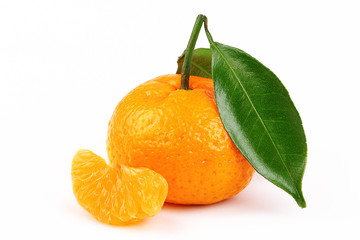 fresh mandarine with slice and leaf isolated white background