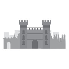 castle building in city icon image vector illustration design