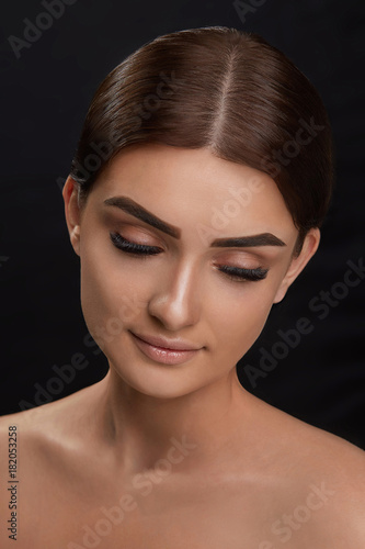 bda42385b67 Eyelashes extensions. Fake Eyelashes. Closeup Of Beautiful Young Female  Model With Soft Smooth Skin