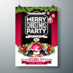 Vector Merry Christmas Party Flyer Illustration with Holiday Typography Elements and Ornamental Balls, Speaker, Snow Globe on Red Background. Celebration Poster Design. EPS10.