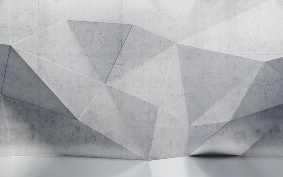 abstract interior wall with polygonal pattern
