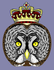 Portrait of an owl in a golden crown