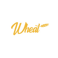 Grain wheat logotype, barley icon, oat logo, rice sign, cob emblem. Agriculture bright golden color harvest vector illustration. Flour and bread production.