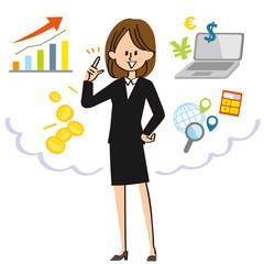 投資に燃える女性社員