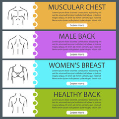 Body parts web banner templates set