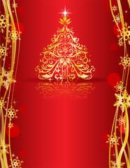 Ornate golden Christmas tree