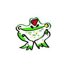 Love the frog. An illustration of a cute cartoon frog.
