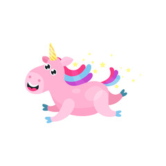 Cute cartoon pink magic unicorn with multicolored mane vector Illustration