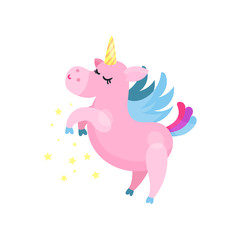 Cute cartoon pink magic unicorn pegasus vector Illustration