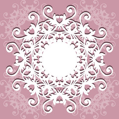 Collection of round lacy napkin for your text or photo. Elegant design . Vector illustration . It can be used as a frame for the photo , for greeting cards, invitations .