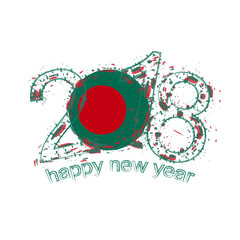 2018 Happy New Year Bangladesh grunge vector template for greeting card and other.