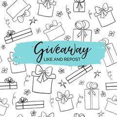 Giveaway minimal card for social media marketing