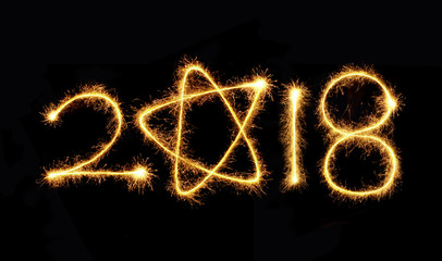 New Year 2018 sparkler on a black background