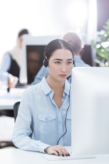 asian call center operator in headset