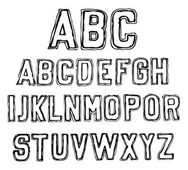 Hand Drawn Alphabet Black Isolated. Doodles letters