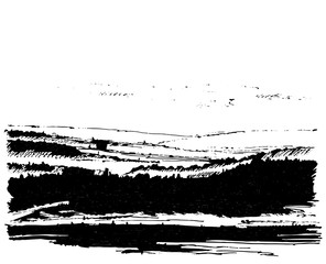 Landscape sketch drawing. Fields, trees and mountains