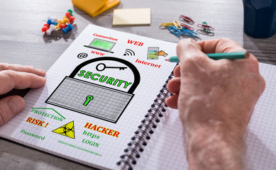 Data security concept on a notepad