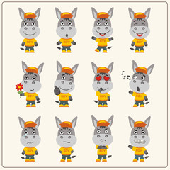 Set of donkey little boy in cartoon style. Collection of isolated donkey in clothes and cap.