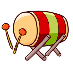Funny and cute bedug drum for ramadan Kareem - vector.
