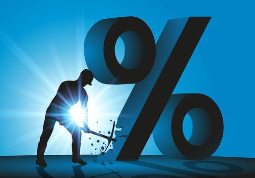 soldes - pour-cent - argent - casser - prix cassés - pourcentage - concept - faillite