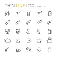 Collection of drinks thin line icons