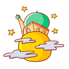 Funny and great mosque on full moon with stars around it in ramadan Kareem - vector.