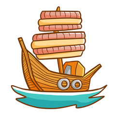 Funny and great wooden ship sailing - vector.