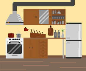 Cozy Modular Kitchen Flat Design