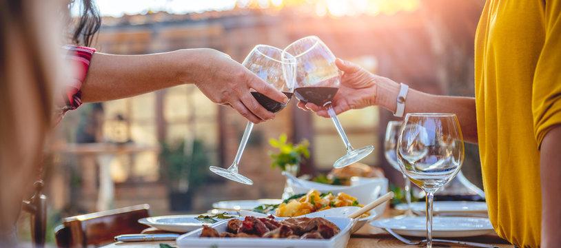Women friends toasting red wine