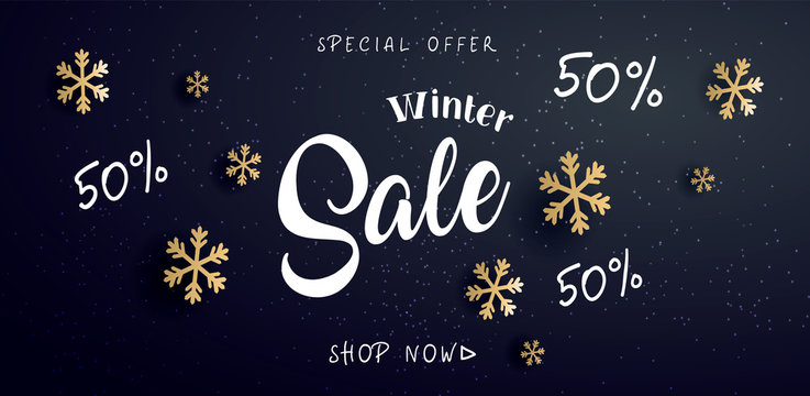 Winter sale  banner with text and snowflake, vector illustration.  Can be used as Christmas greeting card, poster or banner. Vector golden glittering stars, snowflakes and lettering