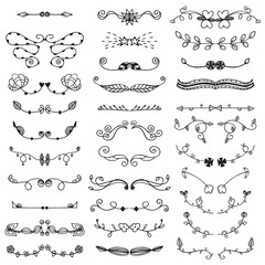 Ornamental lines and stripes doodle border of free hand drawing flower sketch vector