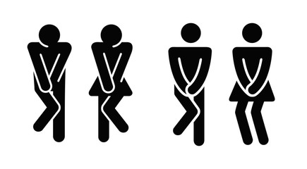 Womens and mens toilet icon sign.