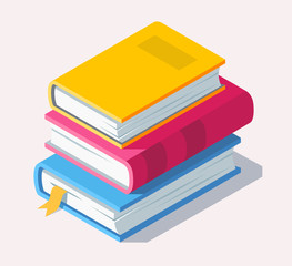 Isometric book icon in flat style.