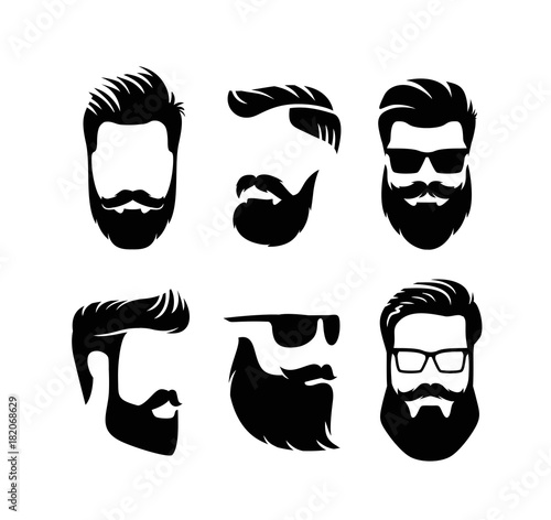 quotset bearded men faces hipsters with haircutsquot obraz243w