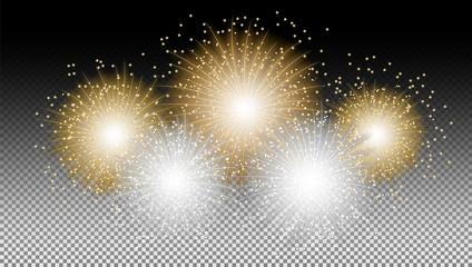 Feuerwerk gold weiß Hintergrund Vektor