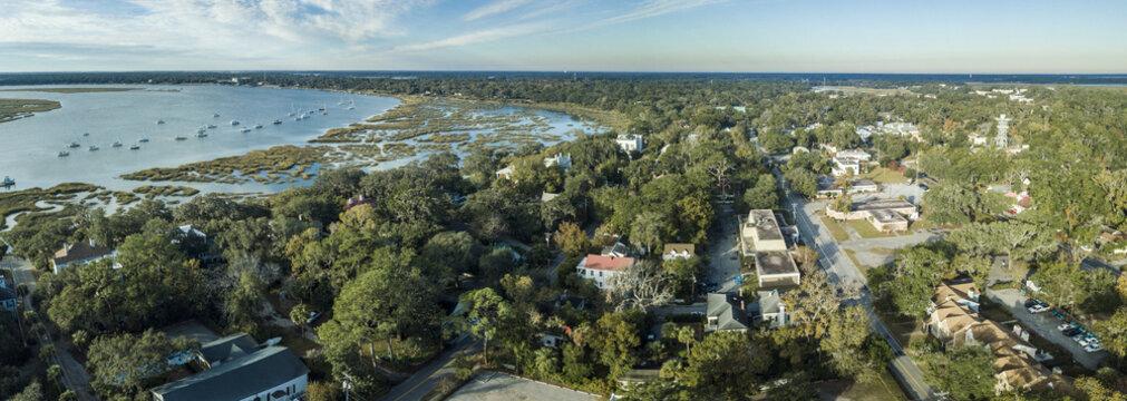 Aerial panorama of Beaufort, South Carolina, USA