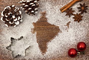 Festive motif of flour in the shape of India (series)