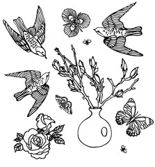 Set of roses and birds patches elements. Set of stickers, pins, patches and handwritten notes collection in cartoon 80s-90s comic style.Vector stikers kit