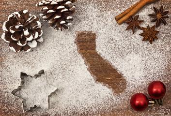 Festive motif of flour in the shape of California (series)
