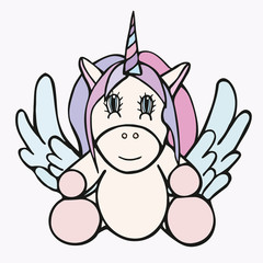 Unicorn drawing cute icon, for magical poster stock illustration