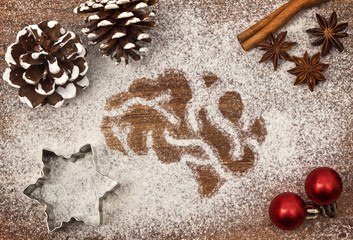 Festive motif of flour in the shape of a brain (series)