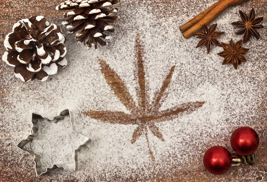 Festive motif of flour in the shape of a weed leaf (series)