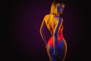 neon girl in bikini