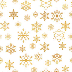 Snowflakes seamless pattern. Snow falls background. Vector illustration. Seamless pattern on a white background