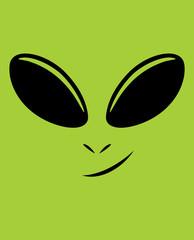 Alien Face / Vector cartoon illustration of green alien face.